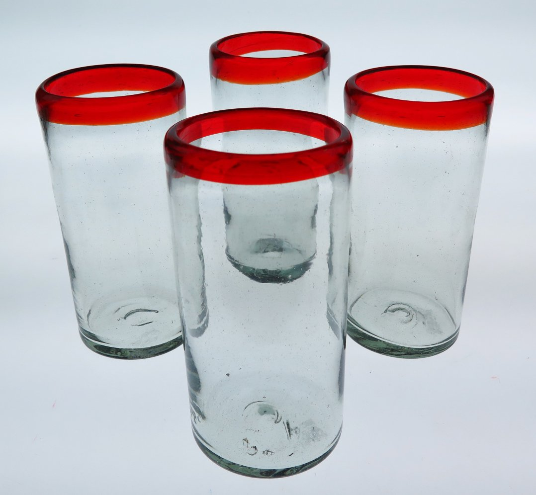 Mexican Glasses, Red Rim, hand blown, tumblers (set of 4)