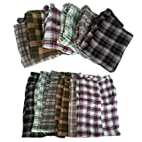 Mens Plaid 100% Soft Cotton Pajama Bottoms Pants Sleepwear - S/M/L/XL (Medium, 3 Pack (3-pants))