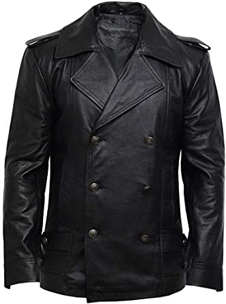 GERMAN DR WHO COAT Men/'s BLACK Classic Reefer Military Real Hide Leather Jacket