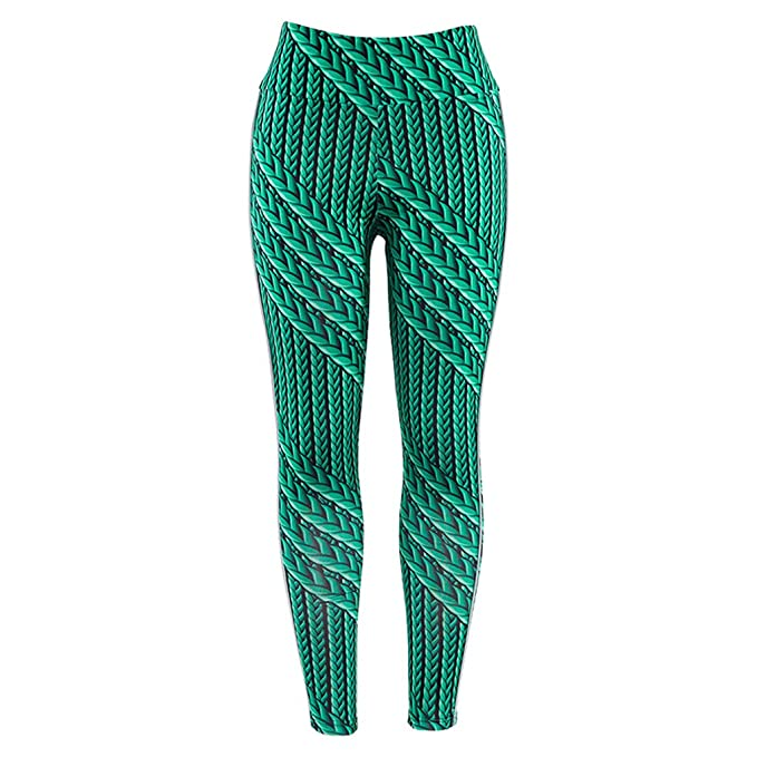 2e569842a1 RUIVE Women's Yoga Pants Striped Print Line Skinny Green Fitness Sports Gym  Stretchy Lady Tights Leggings
