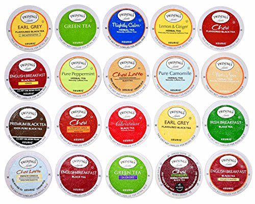 TWININGS K CUPS Tea Sampler Box - 20 COUNT - Variety Sampler Pack for Keurig K-Cup Brewers - Twinings English, Black, Green, Chai, Herbal, Decaffeinated Tea and more - Gift (Twinings Tea Boxes)