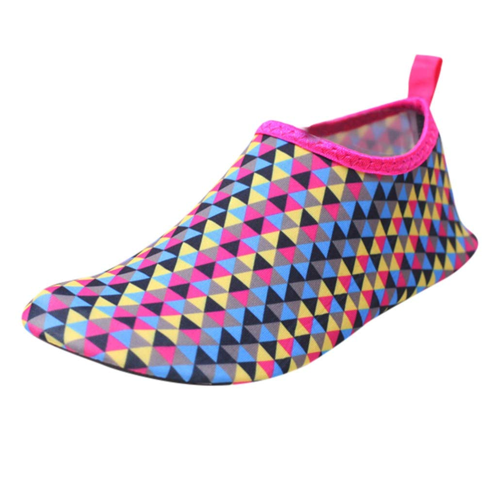 LisYOU Women Men Water Shoes Quick Dry Barefoot Aqua Yoga Beach Swim Boating Socks Surf Safe (CN 34-35, E-Hot Pink)