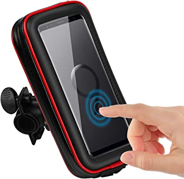 CLM-Tech Bicicleta Soporte para Teléfono móvil, Impermeable Smartphone Soporte Manillar hasta 6.2 Pulgada para Motocicleta Scooter, Cuero sintético Bolsa de Manillar #4 Negro Rojo: Amazon.es: Electrónica