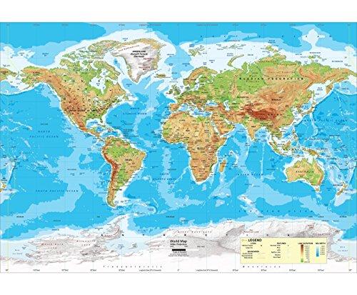 Wall Maps Intermediate Classroom - Academia Maps - World Intermediate Physical Wall Map - Fully Laminated - Classroom Style - Grades 4-6