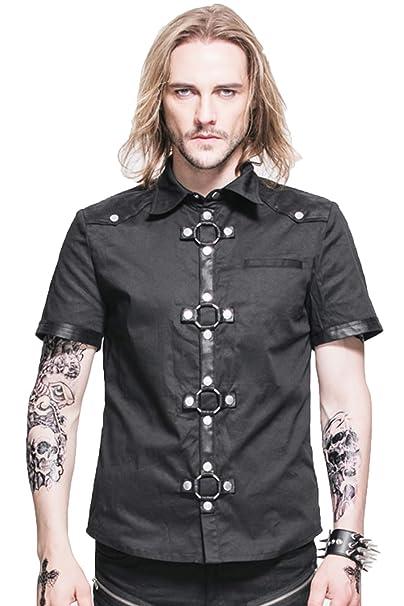 uk availability af3bf 52e73 Devil Fashion Uomo Steampunk Heavy Metal Rock manica corta ...