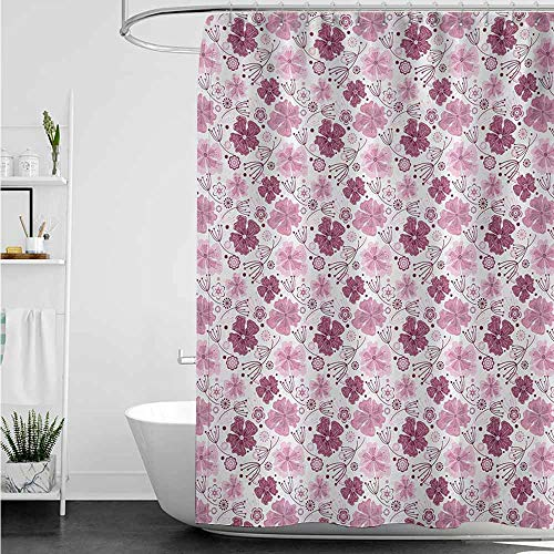 home1love Bathtub Splash Guard,Purple Baroque Inspired Nature Motifs Floral Composition Vintage Blossom,for Master, Kid's, Guest Bathroom,W48x84L,Pale Pink Dried Rose White