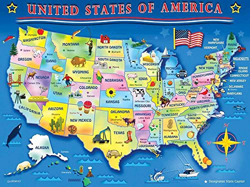 Springbok Children's Jigsaw Puzzles - USA Map - 60 Piece Jigsaw Puzzle - Large 18 Inches by 23.5 Inches Puzzle - Made in USA - Extra Large Easy Grip Pieces
