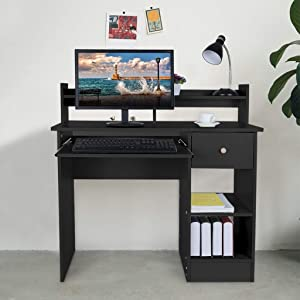 Computer Desk Modern Laptop Desktop Study Writing Table with Keyboard Tray, Drawer & Shelves for Small Spaces, Students Study Table Home Office PC Laptop Table Wood Workstation,US Shipping (Black)