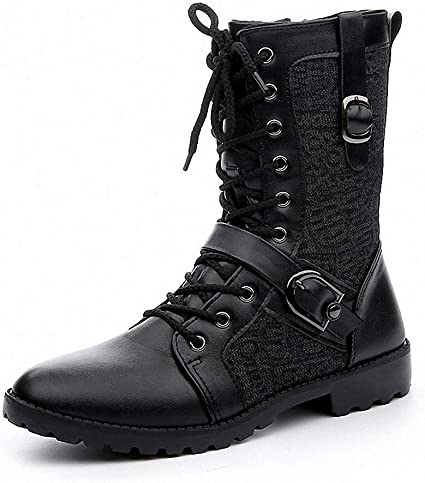leather lace up biker boots