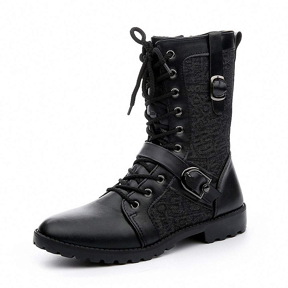 Tebapi Mens Backpacking Boots Autumn Punk Martin Boots Men Fashion Pu Leather Lace-up Motorcycle Boots Black Vintage High Top Buckle Shoes Man Xmx516 Black 9.5 by Tebapi