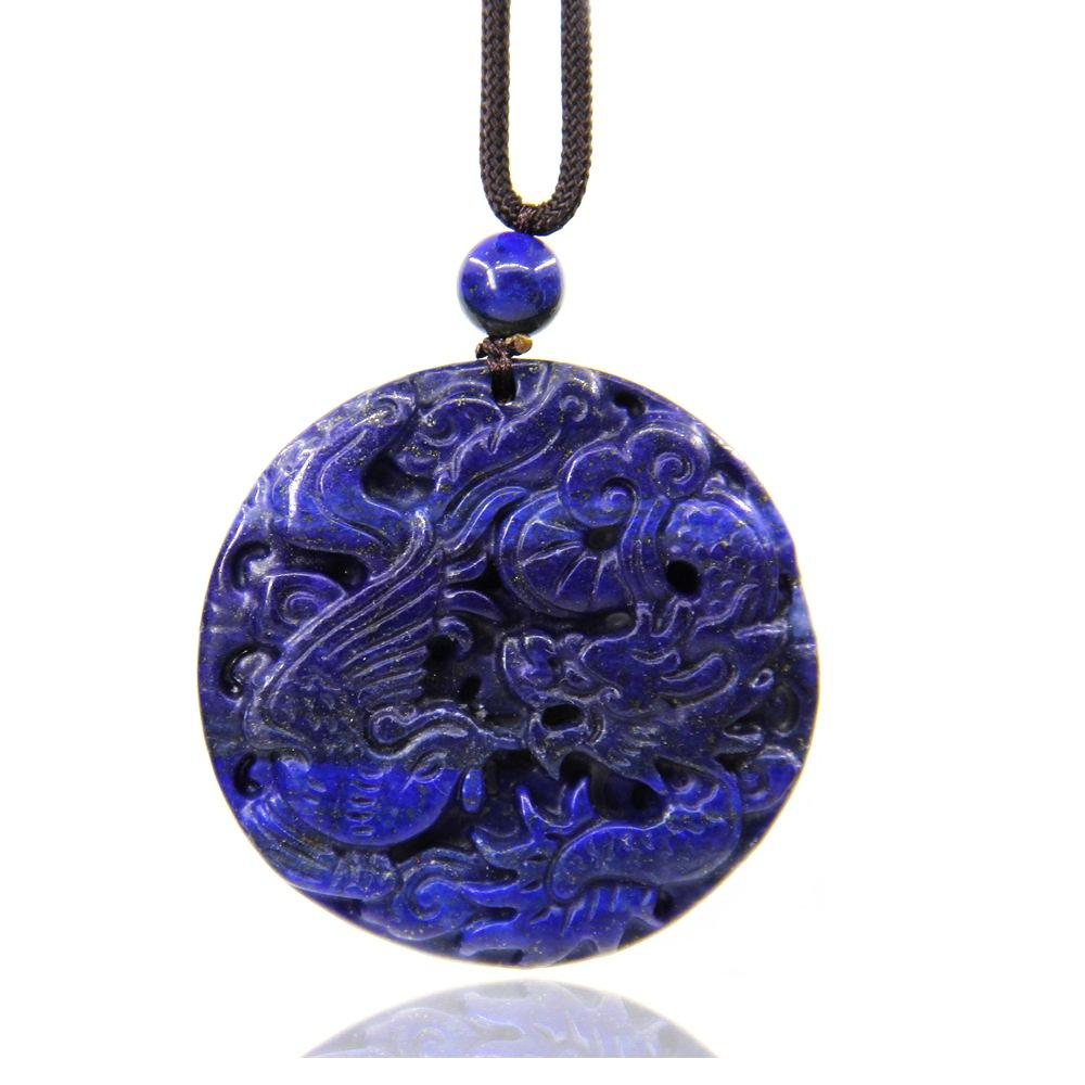 Natural Lapis Lazuli Gemstone Dragon and Phoenix Amulet Charm Pendant Necklace 20''
