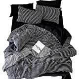 Zhiyuan Stripes Black Washable Cotton Duvet Cover Flat Sheet Pillowcase Set, Queen