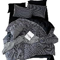 Zhiyuan Stripes Black Washable Cotton Duvet Cover Flat Sheet Pillowcase Set