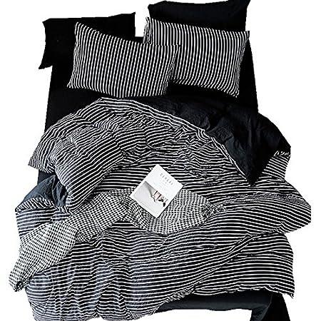 Zhiyuan Stripes Black Washable Cotton Duvet Cover Flat Sheet Pillowcase Set, Full
