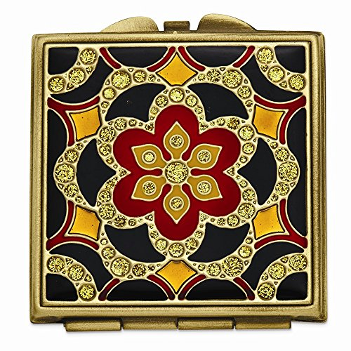 (ICE CARATS Gold Tone Enameled Compact Mirror Woman Pill Box Lipstick Holder Fashion Jewelry Gifts for Women for Her)