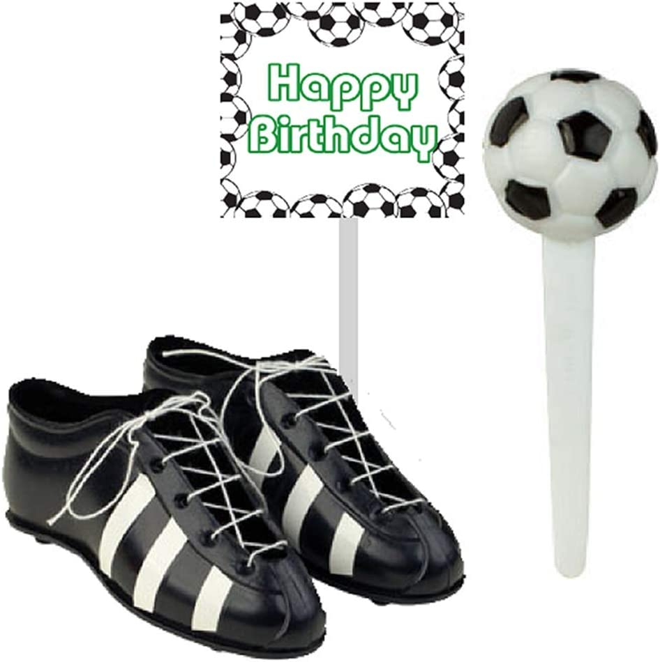 Soccer Foot Ball Birthday Party Cake Decoration Topper Toys Mini Soccers Shoes Cleats Soccer Pick and Banner