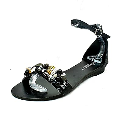 SendIt4Me Black Flat Sandals With White Cleated Sole and Tiger Print Strap 069jeJ