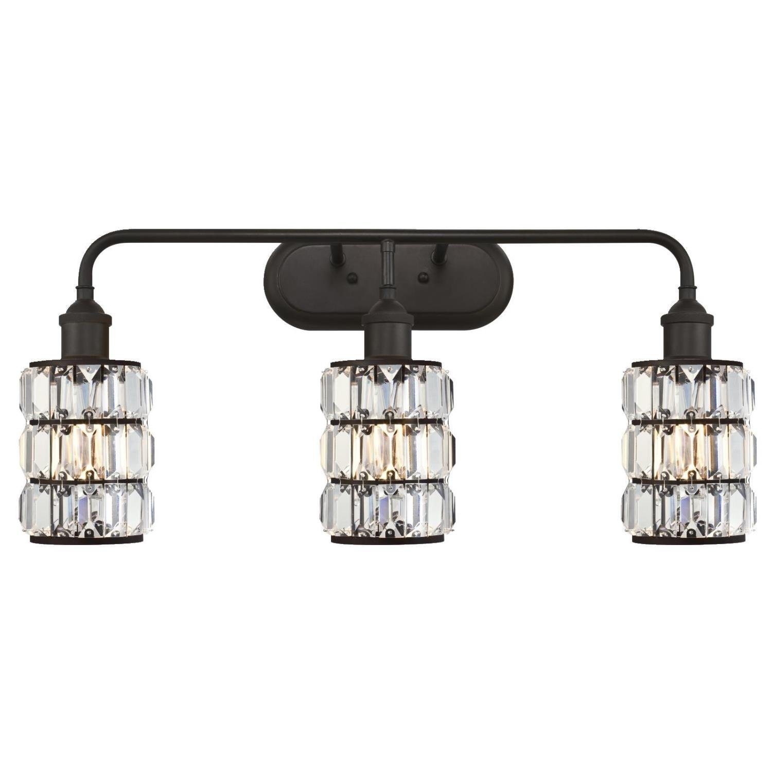 Westinghouse 6337900 Sophie Three-Light Indoor Wall Fixture, Oil Rubbed Bronze Finish with Crystal Prism Glass by Westinghouse