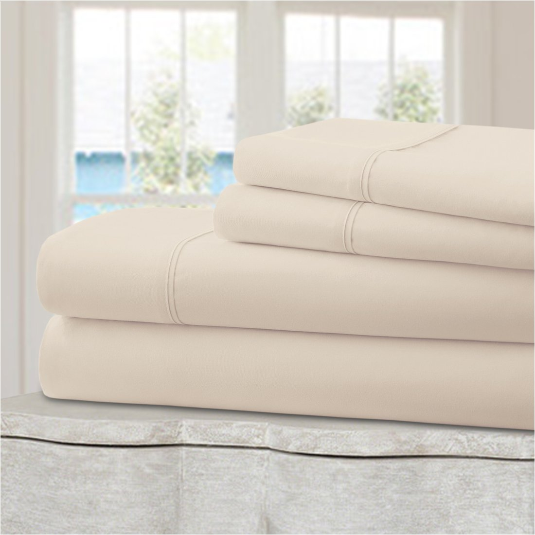 4 Piece Queen, Beige Ideal Linens Bed Sheet Set