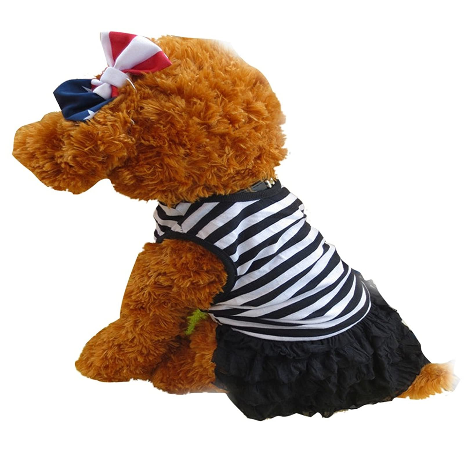 Binmer(TM)Cute Dog Clothes Pet Dog Black M - 2