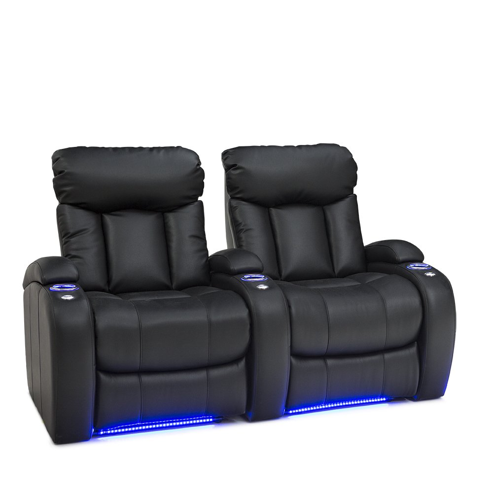 Seatcraft Orleans Home Theater Seating Manual Recline Leather Gel (Row of 2, Black)