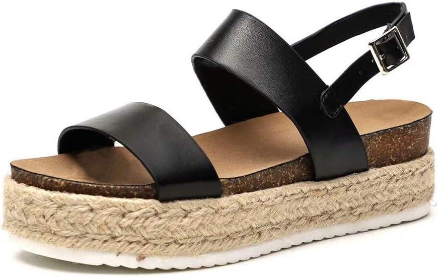 Tianre Sandalias de cuña for Mujer Plataforma de Verano for Mujer Hebilla de Tiras Correas de cáñamo de Cuerda Plana de cáñamo Zapatos de Moda cómodos Punta Abierta