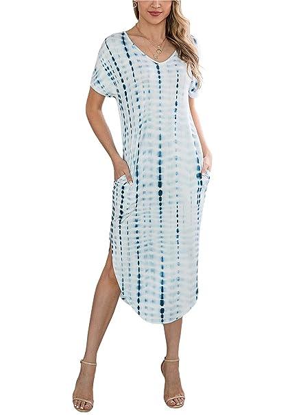 d138654c89a81 KIRUNDO Women Summer Casual Short Sleeves V Neck Two Pockets Tie Dye Split  Loose Maxi Dress