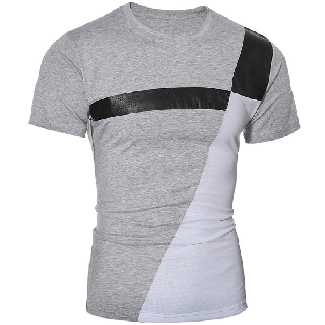 Mfasica Men Crewneck Silm Fit Short-Sleeve Stitch Comfy T-Shirt Top