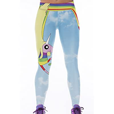 Lady Queen Women's Adventure Time Printed Tight Stretch Sport Legging Pants