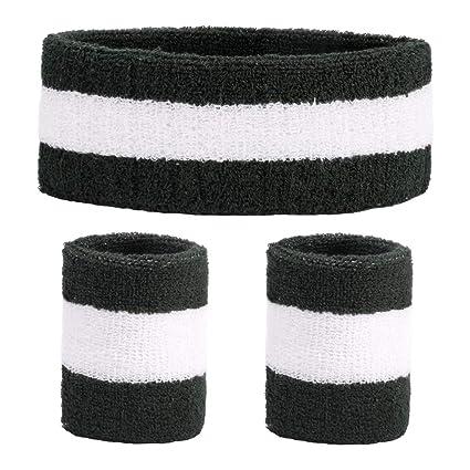 DEMIL Sweatbands Sports Headband Wristband for Men   Women - 3PCS Moisture  Wicking Athletic Cotton Sports Headbands Terry Cloth Sweatband for  Basketball ... 77b4d0ee370
