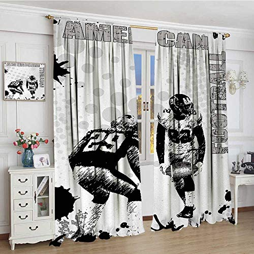 smallbeefly Sports Blackout Window Curtain Grungy American Football Image International Team World Cup Kick Play Speed Victory Customized Curtains 72