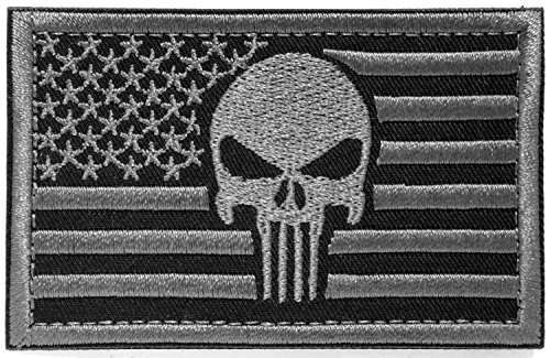 - Backwoods Barnaby Punisher USA American Flag Tactical Morale Patch with Hook & Loop (AP Stealth, 2