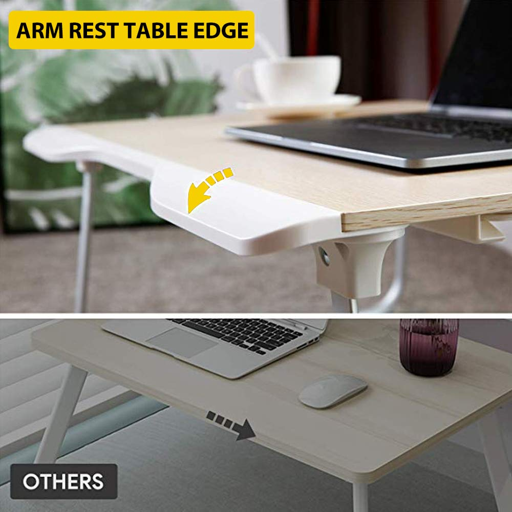 25.6x19.3x11.8 Folding Laptop Desk Multi-Function Elekin Laptop Bed Table with Storage Drawer Phone Stand Cup Holder for Bed Sofa
