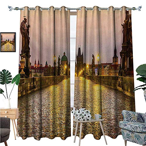(Landscape Waterproof Window Curtain Charles Bridge Old Town Prague Czech Republic with Classic Medieval Buildings Blackout Draperies for Bedroom W120 x L84 Yellow Brown)