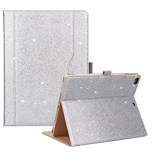 ProCase iPad 9.7 Case 2018/2017 iPad Case - Stand Folio Cover Case for Apple iPad 9.7 inch, Also Fit iPad Air 2 / iPad Air -Glitter Silver ()
