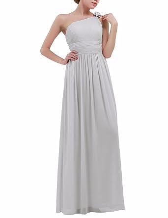 YiZYiF Women One Shoulder Chiffon Wedding Bridesmaid Long Maxi Dress Evening Prom Gowns Gray UK 20