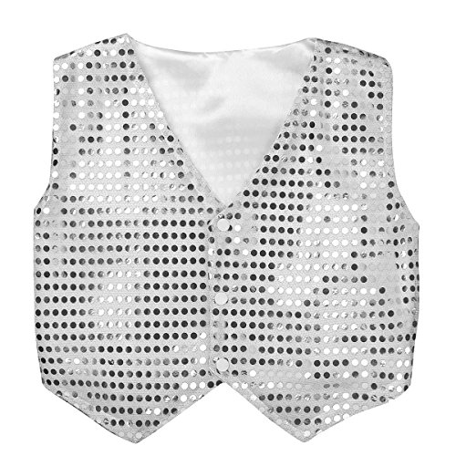 inhzoy Boys' Girls' Glittery Sequined Stage Performance Jazz Hip-hop Dance Costumes Vest Jacket Waistcoat Silver 13-14