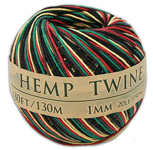 Hemp Bead Beading Twine Cord - 430 Feet of 1mm 100% Hemp Twine Bead Cord in Rasta