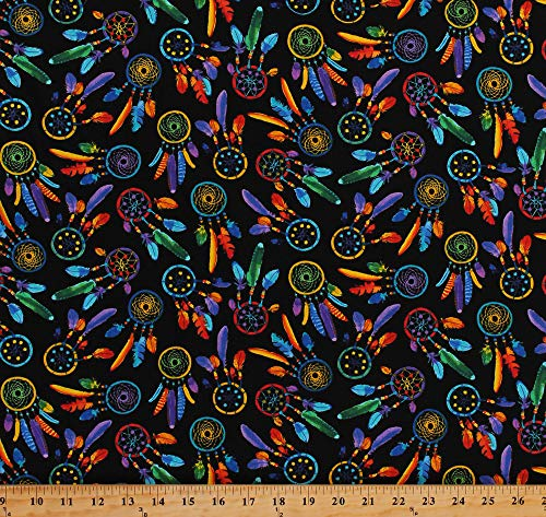 Cotton Dreamcatchers Dream Catchers Bright Multi-Colored Feathers Native American Southwestern Southwest Black Cotton Fabric Print by The Yard - Print Southwestern Fabric