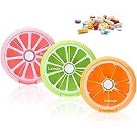 Yosoo Portátil giratorio pastillero 7días Medicina Vitaminas recipiente dispensador de almacenamiento, estilo de diseño de la fruta(3 PCS)