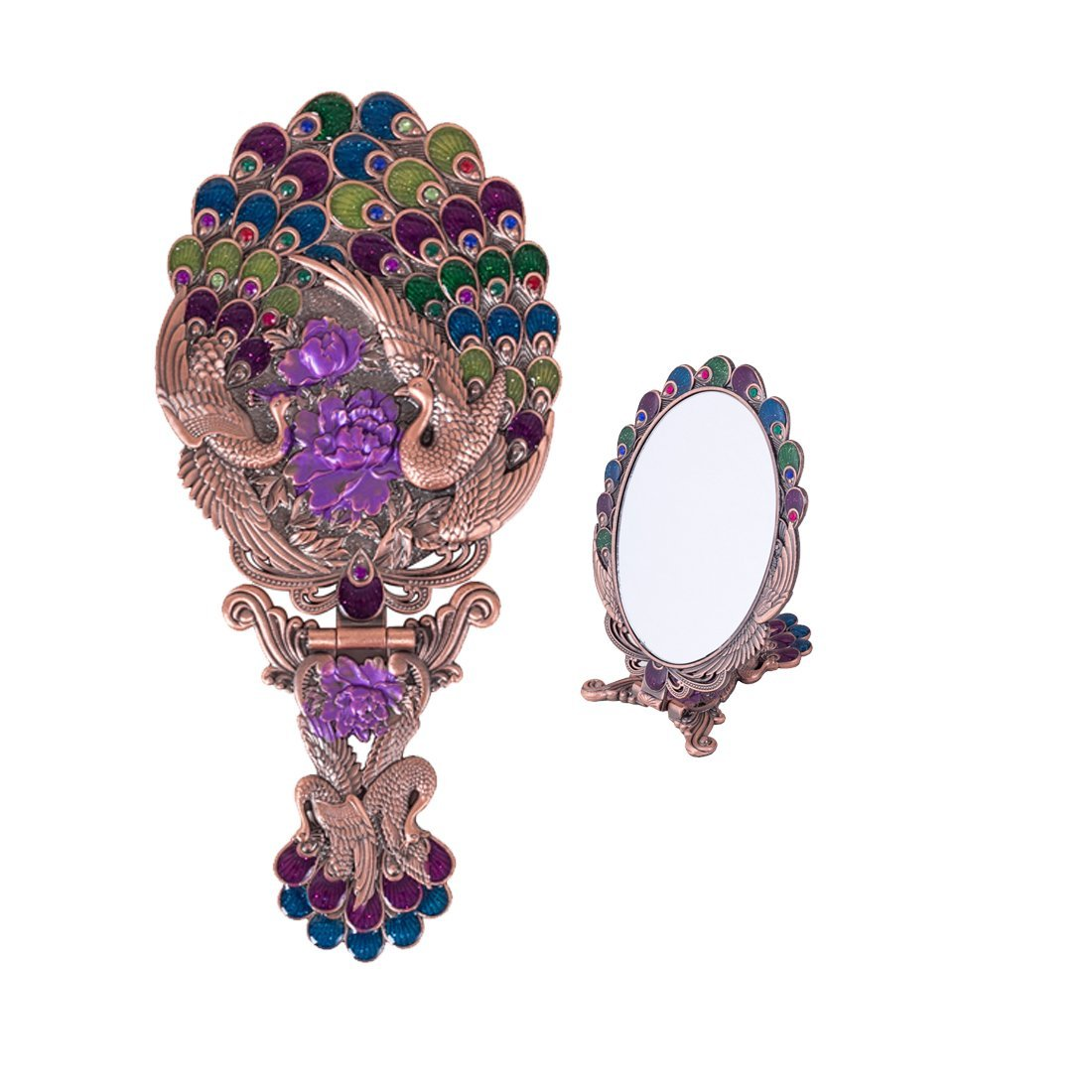 Moiom Vintage Style Metal Foldable Oval Peacock Flower Pattern Makeup Hand/Table Mirror (Copper Red)