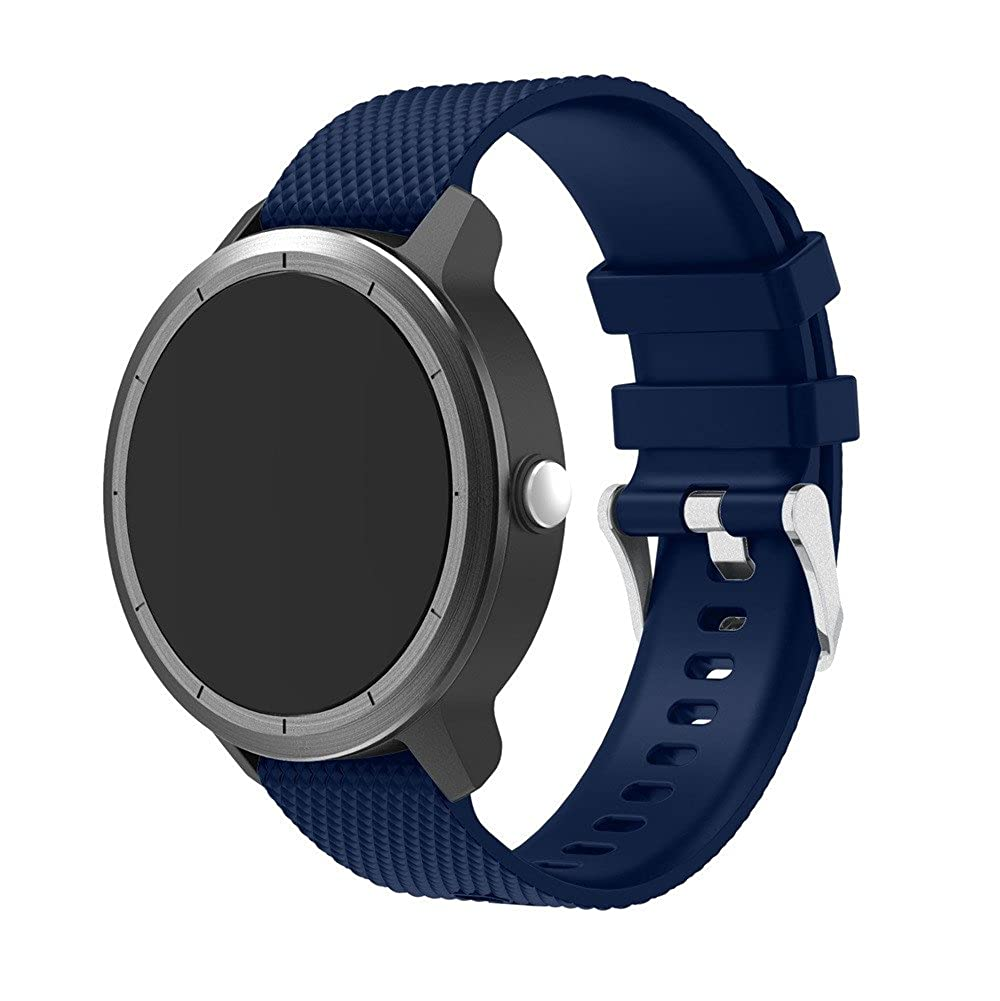 JiaMeng Deportes Silicona Pulsera Banda Correa Suave de la Correa de Wirst del Deporte del reemplazo del silicón para Garmin Vivoactive 3(Azul): Amazon.es: ...