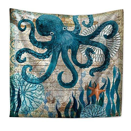 RFVBNM Tapestry,Hippie Hippy Tapestries,Mediterranean Marine Animal Octopus Printing Home Tapestry,Cotton Handmade Bedsheet,sofa cover,Bedding Bedspread,Picnic Beach Sheet,Table Cloth,200150cm by RFVBNM Tapestry