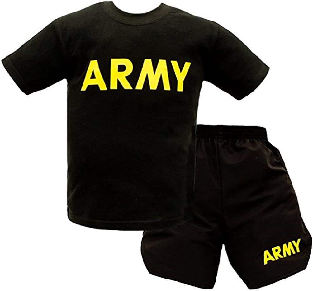 Trooper Clothing Army 2 Piece Youth PT Shorts and T-Shirt Set X-Small Grey
