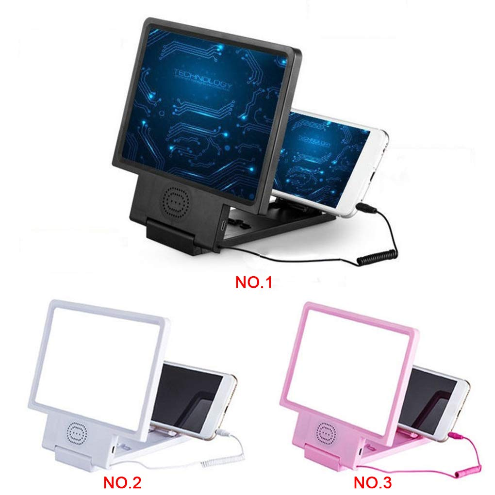 Busirde 3D-Handy-Screen Amplifier Vergr/ö/ßerungs HD St/änder Halter Video Folding Vergr/ö/ßerungs Sound Screen Amplifier