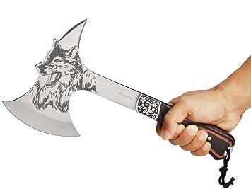 Amazon.com: Promithi - Hacha de acero con dibujo de cabeza ...
