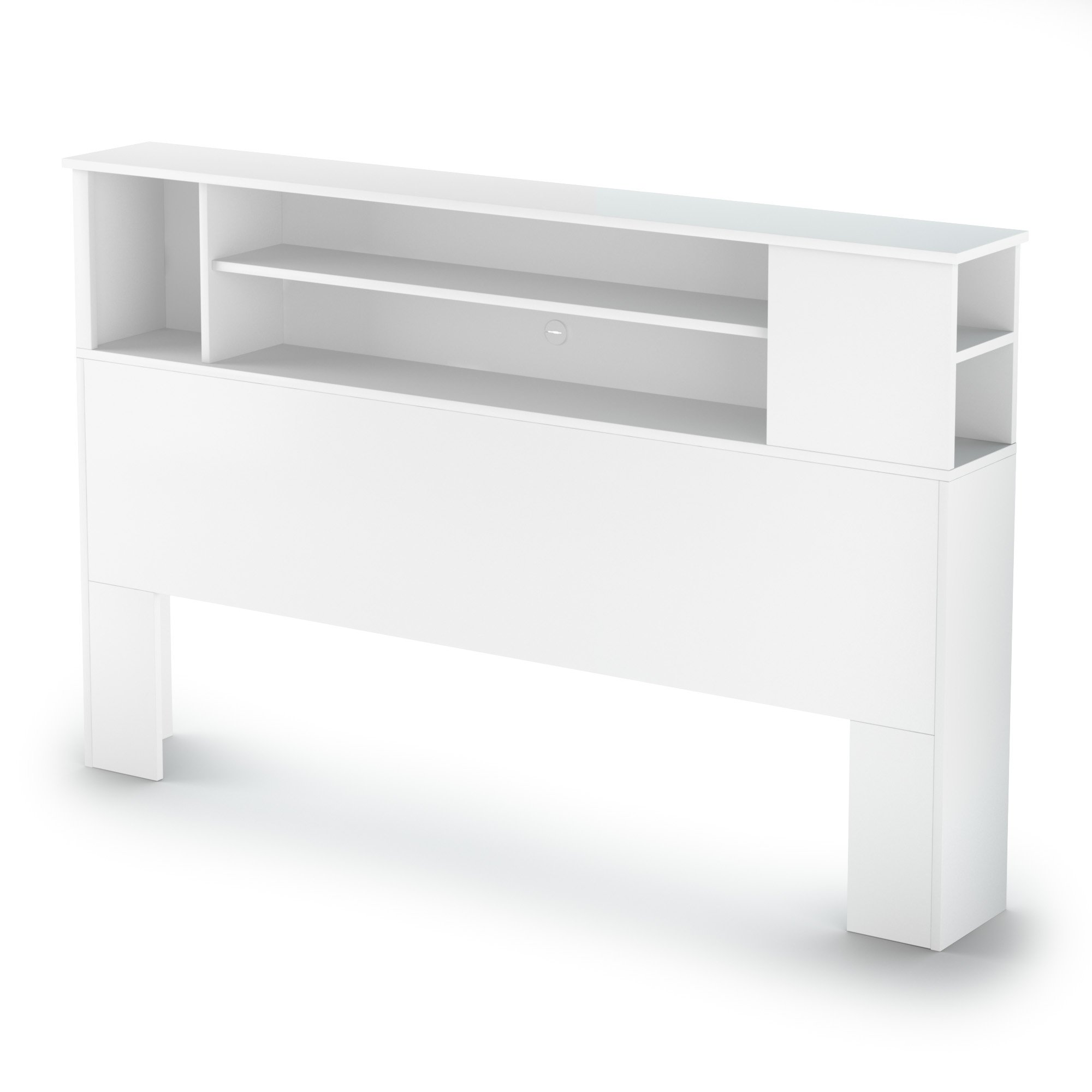 South Shore Furniture 54/60'' Fusion Bookcase Headboard, Full/Queen, Pure White by South Shore