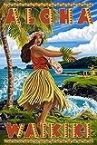 Waikiki, Hawaii - Aloha - Hawaii Hula Girl on Coast (24x36 SIGNED Print Master Giclee Print w/ Certificate of Authenticity - Wall Decor Travel Poster)