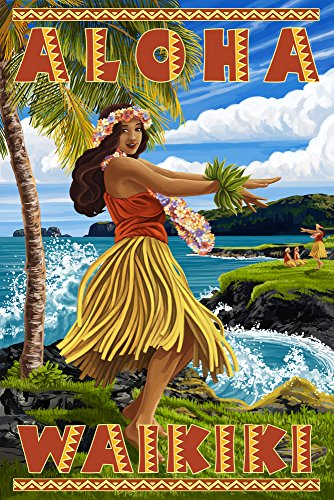 Waikiki, Hawaii - Aloha - Hawaii Hula Girl on Coast (24x36 SIGNED Print Master Giclee Print w/ Certificate of Authenticity - Wall Decor Travel Poster) by Lantern Press