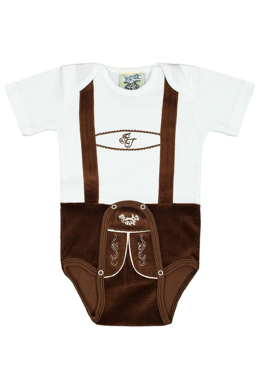 Baby - Jungen Isar-Trachten Babystrampler Lederhose braun kurz, weiß-braun,